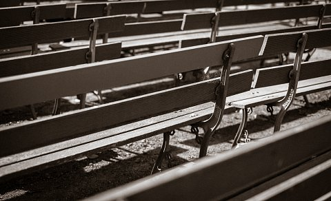 Empty park benches